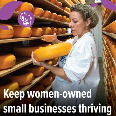 """photo of woman holding orange wheel of cheese, text layover says """"keep women-owned small business thriving"""""""