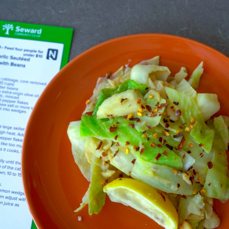 Lemon Garlic Sautéed Cabbage with Butter Beans