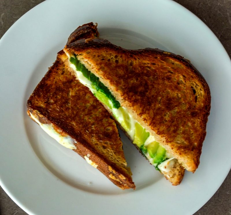 grilled cheese with white cheese and avocado
