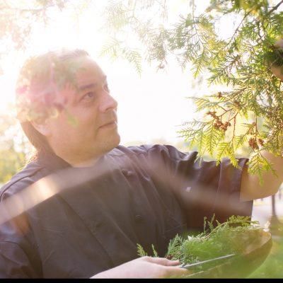 Sean Sherman foraging Cedar