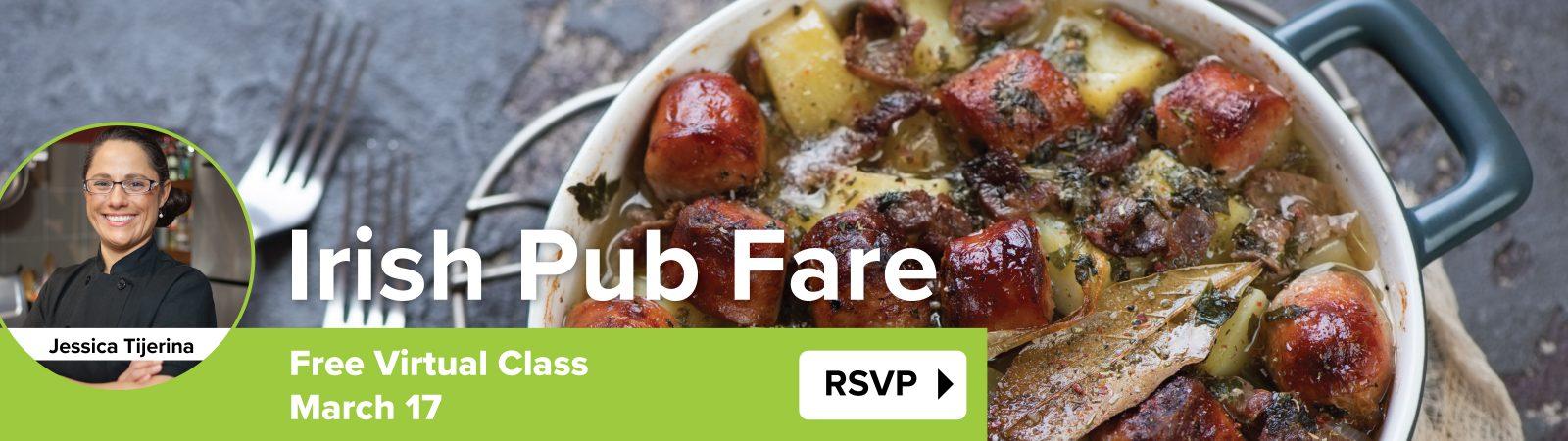 irish pub fare class march 17