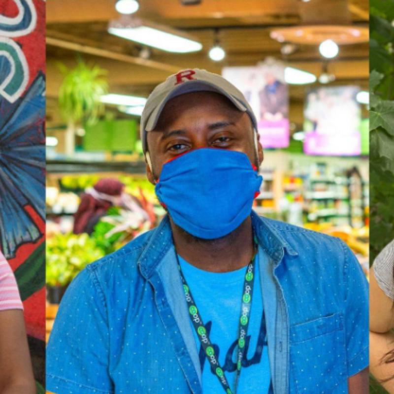 three Seward Co-op employees wearing masks
